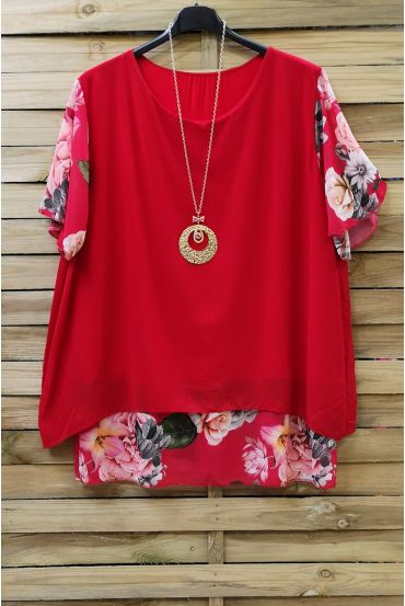 LARGE SIZE TUNIC CLOAKING SUPERPOSEE + NECKLACE 0608 RED