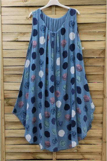 DRESS LOOSE-FITTING PRINTED 0673 BLUE