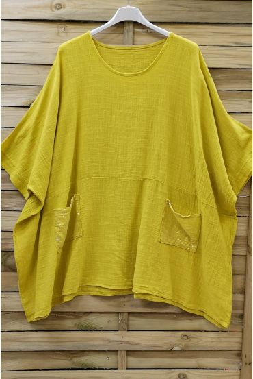 LARGE SIZE TUNIC SEQUINS 0672 YELLOW