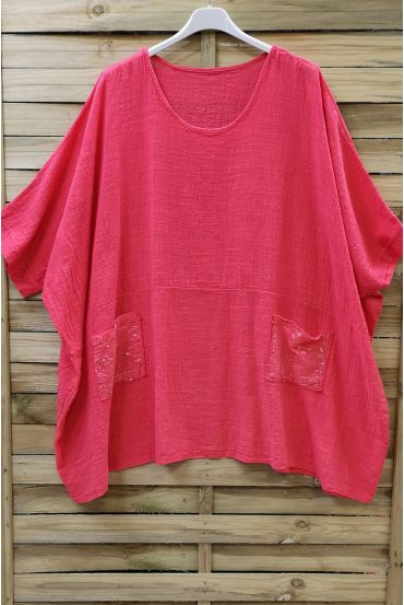 LARGE SIZE TUNIC SEQUINS 0672 CORAL