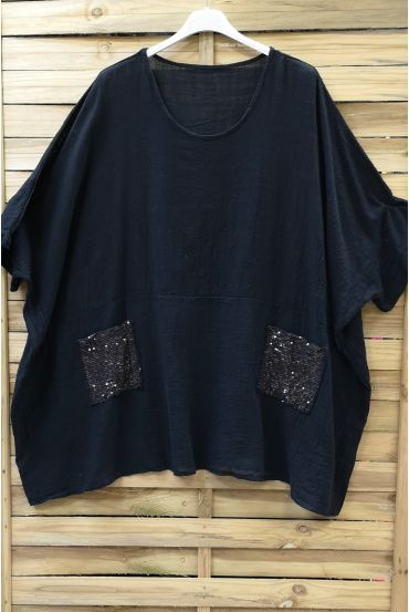 LARGE SIZE TUNIC SEQUINS 0672 BLACK