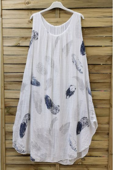 DRESS LOOSE-FITTING PRINTED 0670 WHITE