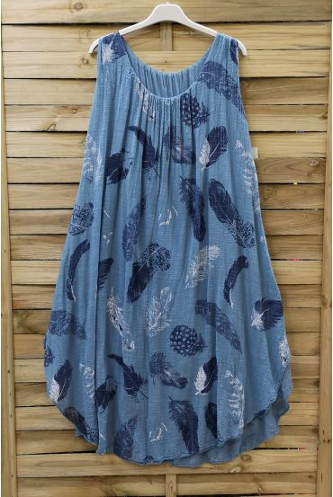 DRESS LOOSE-FITTING PRINTED 0670 BLUE