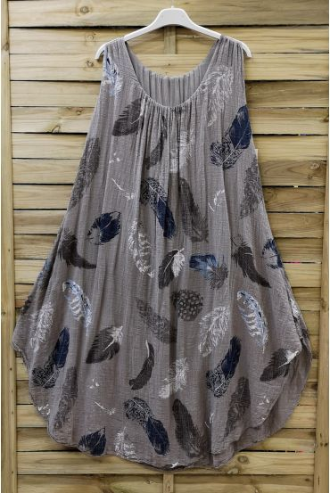 DRESS LOOSE-FITTING PRINTED 0670 TAUPE