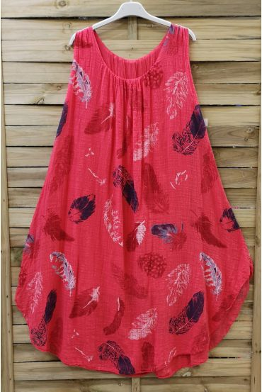 DRESS LOOSE-FITTING PRINTED 0670 CORAL