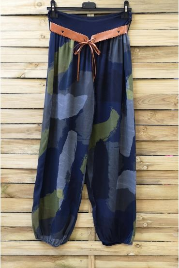 LOT 2 X PANTS PRINTED + BELT 0691 NAVY BLUE