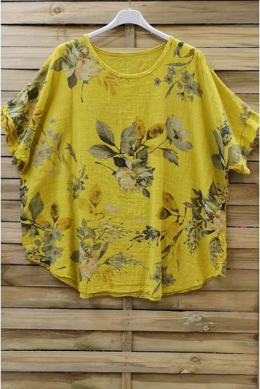 TOP COTTON FLOWERS 0677 YELLOW