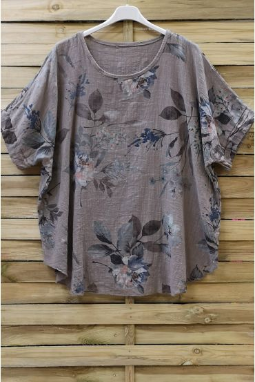 TOP COTTON FLOWERS 0677 TAUPE