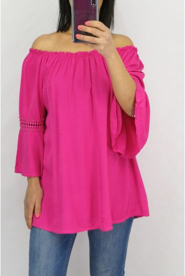 TUNIC SLEEVES LACE 0702 FUSHIA