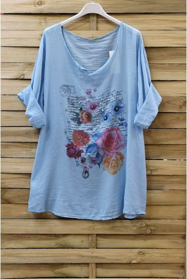 TUNIC COTTON PRINTED CLOUTEE 0749 AZURE BLUE