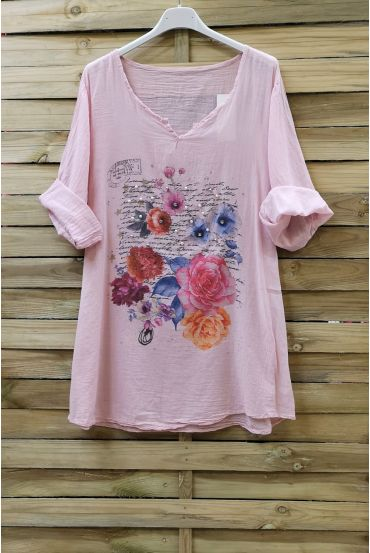 TUNIC COTTON PRINTED CLOUTEE 0749 PINK
