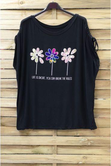 LARGE SIZE T-SHIRT FLOAGE FLOWERS 0787 BLACK