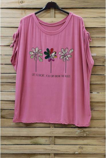 LARGE SIZE T-SHIRT FLOAGE FLOWERS 0787 PINK