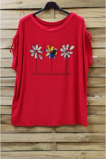 LARGE SIZE T-SHIRT FLOAGE FLOWERS 0787 RED