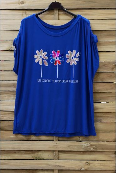 LARGE SIZE T-SHIRT FLOAGE FLOWERS 0787 ROYAL BLUE