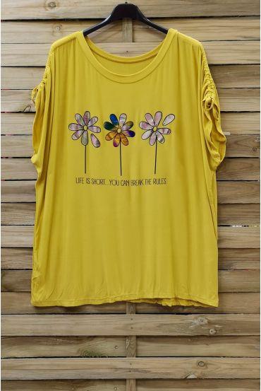 LARGE SIZE T-SHIRT FLOAGE FLOWERS 0787 YELLOW