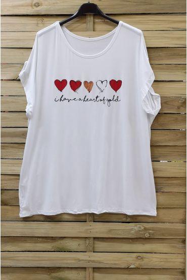 LARGE SIZE T-SHIRT HEART 0781 WHITE