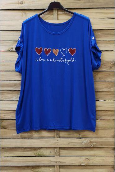 LARGE SIZE T-SHIRT HEART 0781 ROYAL BLUE