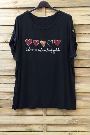 LARGE SIZE T-SHIRT HEART 0781 BLACK