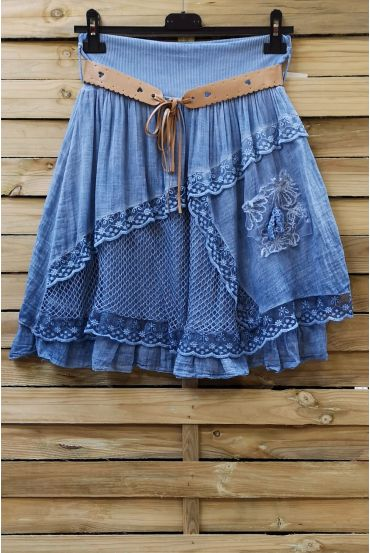 SKIRT IN COTTON 0779 BLUE