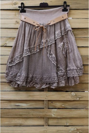 SKIRT IN COTTON 0779 TAUPE