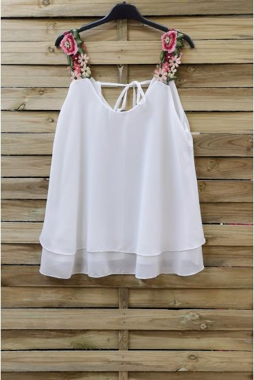 TOP STRAPLESS FLORAL 0792 WHITE