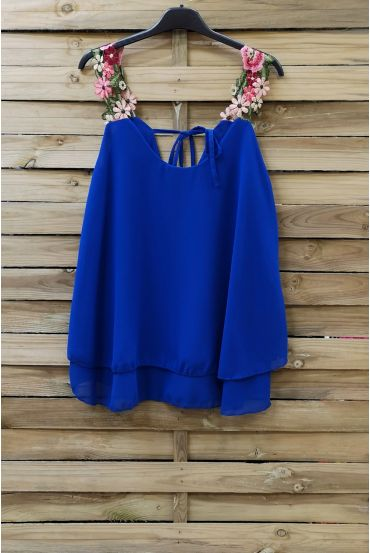 TOP STRAPLESS FLORAL 0792 ROYAL BLUE