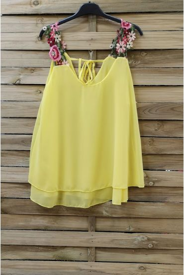 TOP STRAPLESS FLORAL 0792 YELLOW