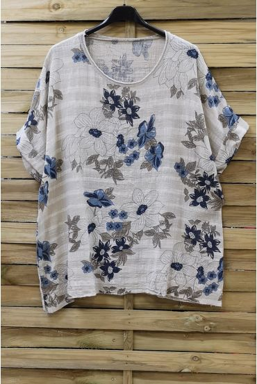 LARGE SIZE TUNIC PRINTED 0761 BEIGE