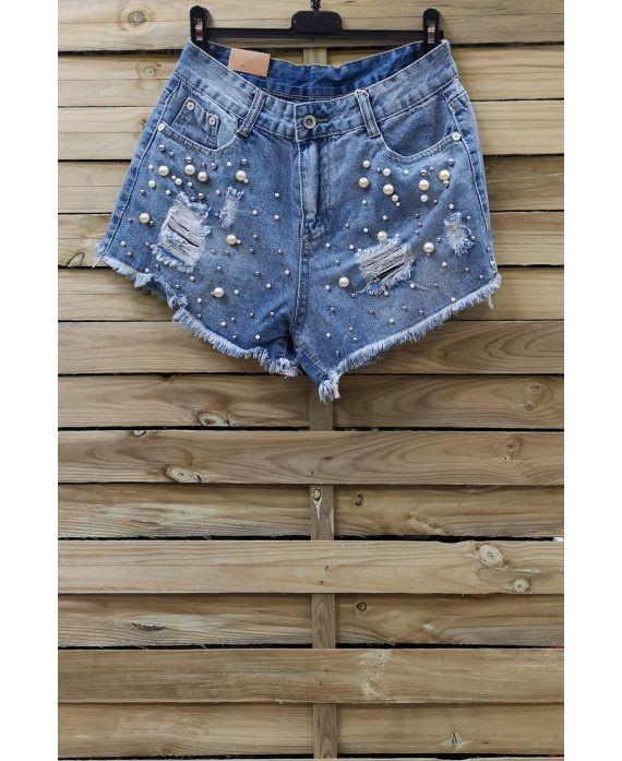 Pantalones CORTOS VAQUEROS de la PERLA x 3-0094-AZUL