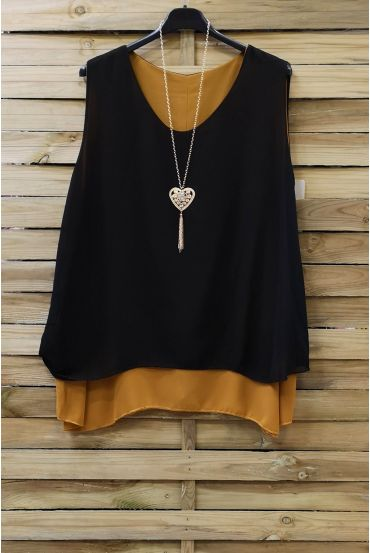 LARGE SIZE TOP BI-COLOR + NECKLACE 0827 N YELLOW