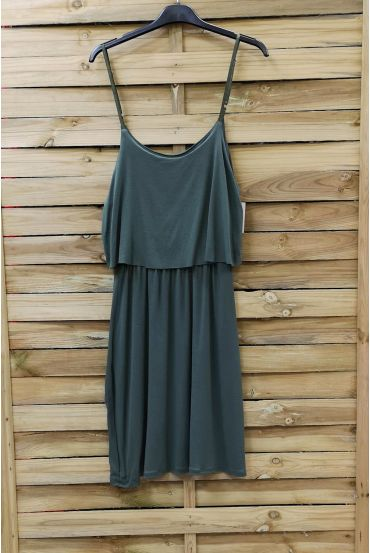 DRESS HAS ADJUSTABLE STRAPS 0845 MILITARY GREEN