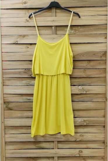 DRESS HAS ADJUSTABLE STRAPS 0845 YELLOW