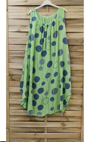 DRESS PRINTED 0852 GREEN ANISE