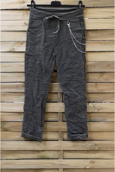 PANTS EFFECT PLEATED 0856 MILITARY GREEN
