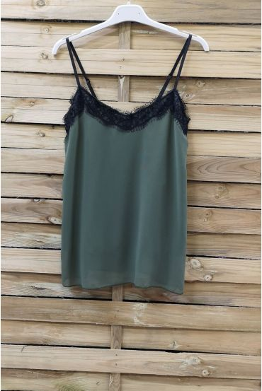 CAMISOLE LACE ADJUSTABLE STRAPS 0863 MILITARY GREEN