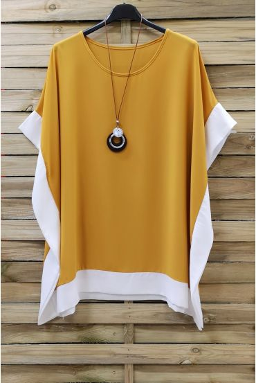 LARGE SIZE TUNIC BI-COLOR + NECKLACE 0872 YELLOW
