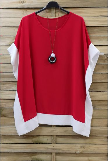 LARGE SIZE TUNIC BI-COLOR + NECKLACE 0872 RED