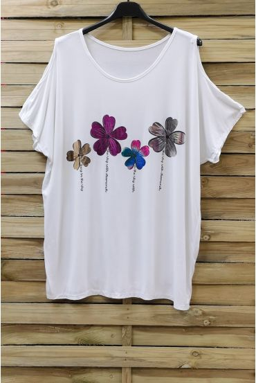 LARGE SIZE T-SHIRT FLOCKING AND SHOULDERS OPEN 0871 WHITE