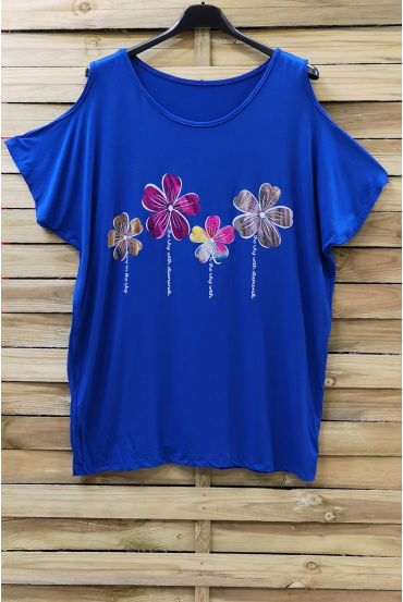 LARGE SIZE T-SHIRT FLOCKING AND SHOULDERS OPEN 0871 ROYAL BLUE