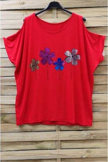 LARGE SIZE T-SHIRT FLOCKING AND SHOULDERS OPEN 0871 RED