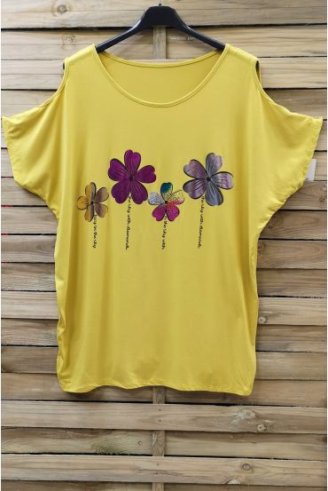 LARGE SIZE T-SHIRT FLOCKING AND SHOULDERS OPEN 0871 YELLOW