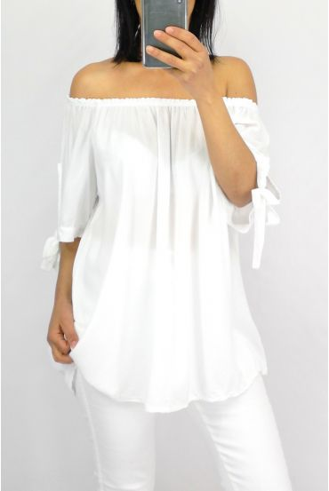TOP SCOOP NECKLINE ELASTIC 0848 WHITE