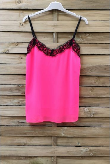 CAMISOLE LACE ADJUSTABLE STRAPS 0863 NEON PINK