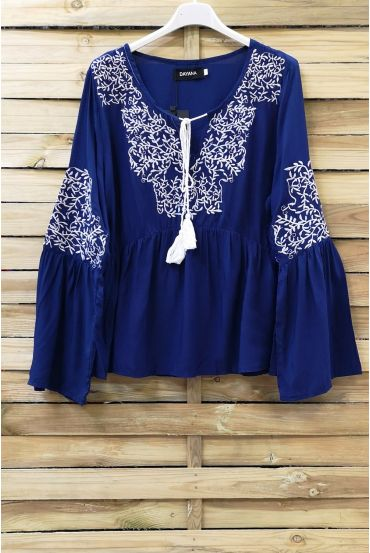 EMBROIDERED TUNIC 1077 NAVY