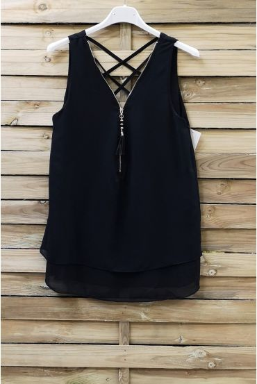 TOP ZIPS BACK CROSSES 0887 BLACK