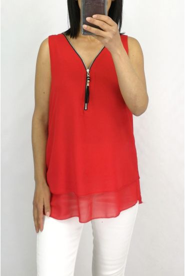 TOP ZIPS BACK CROSSES 0887 RED