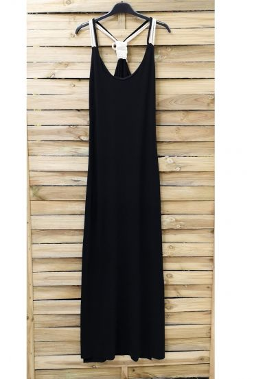 BACK LONG DRESS FANCY 0922 BLACK