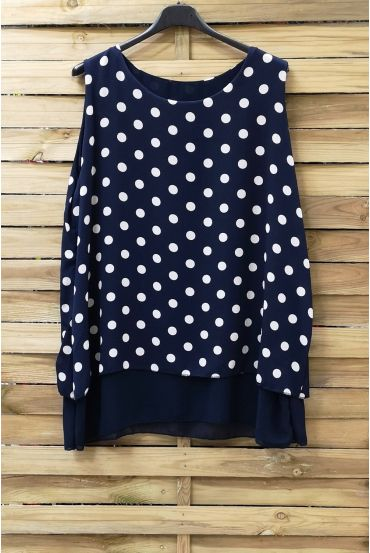 LARGE SIZE TOP HAS POLKA DOTS 0936 NAVY BLUE