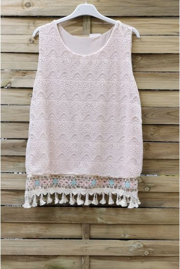 LACE TOP HAS POM-POMS 0978 BEIGE